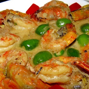 Shrimp in Coconut Sauce by Nisha B. - Food & Drink Plated Food ( chillies, coconut, food, shrimp, plate, prawn, india, indian food, plated food, curry )