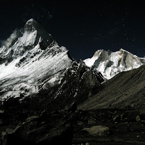 Shivling & Meru Peak at Full Moon by Saikat Datta - Landscapes Mountains & Hills ( tapovan trek )