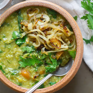 Herbed Split Pea & Basmati Rice Soup with Caramelized Onions.
