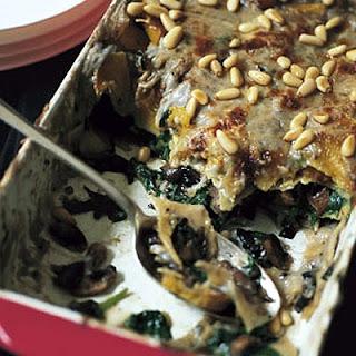 Roast Butternut Squash, Spinach And Mushroom Lasagne