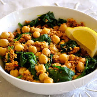 Chickpeas and Spinach with Spicy Breadcrumbs.