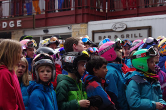 Photo: Kids from the Park City Ski Team listen to their hero.