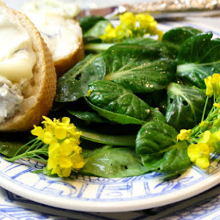 Tatsoi Salad Tossed in a Meyer Lemon-Dijon Vinaigrette Served with Humboldt Fog-Baguette Slices