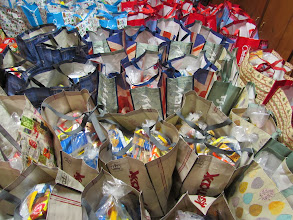Photo: Bags filled with kare kits ready to be delivered!!
