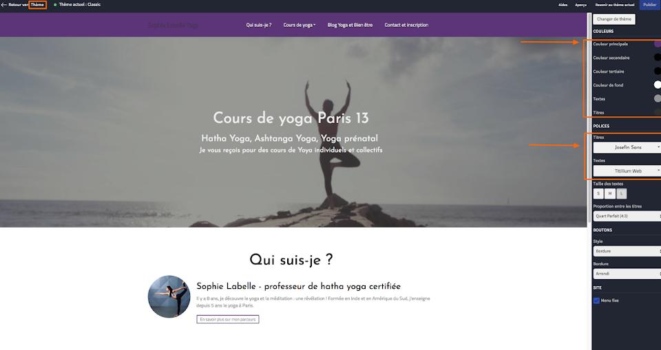 choisir un design de site de cours de yoga