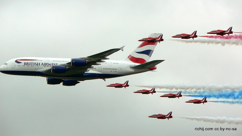 Photo: British Airways A380-841 and the Red Arrows