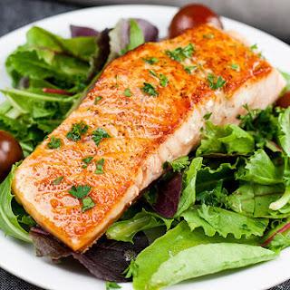Pan-Seared Salmon Salad with Lemon Dijon Vinaigrette.