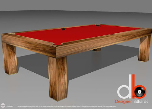 a billiard table with red felt on it