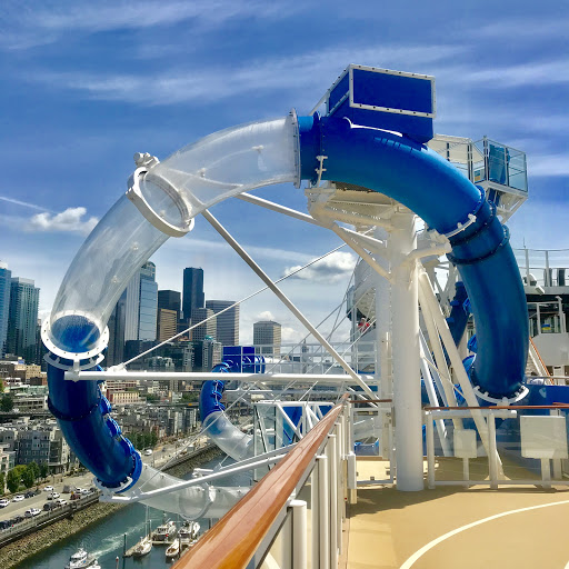 Ocean Loops.JPG - Now you can go overboard. With the Ocean Loops drop slide, you can splash your way over the side of the ship before being rocked back onboard on one of the fastest waterslides at sea!