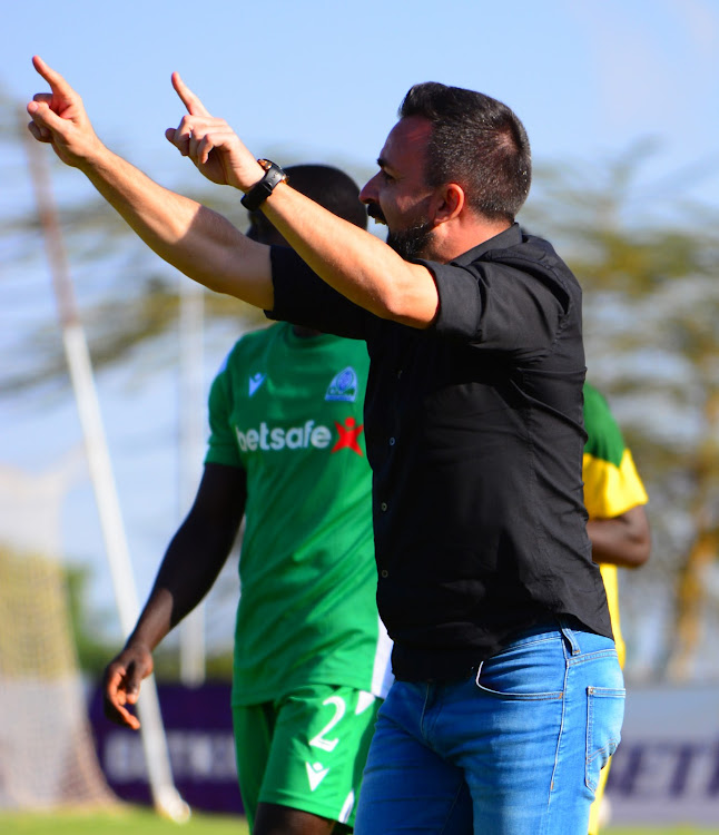 Gor Mahia head coach Vaz Pinto issues instructions during a recent FKFPL match against Mathare United at Moi Stadium, Kasarani