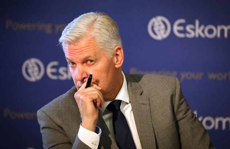 Eskom CEO Andre de Ruyter. The power utility is dragging its feet on meeting some of the conditions attached to it receiving R59bn from the government last year.