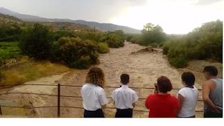 La crecida del Río Nacimiento a su paso por Abla