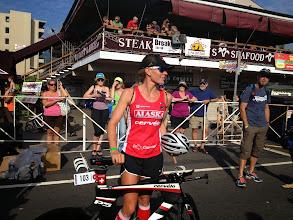 Photo: Caroline Steffen heading to bike check-in