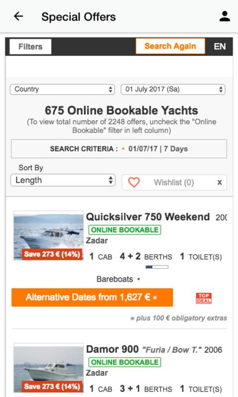 Achterspring Yachtcharter- screenshot