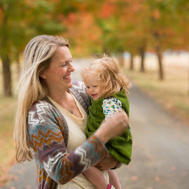 Mother and Daughter by Craig Lybbert - People Family ( mother, tree lane, fall colors, babygirl, baby, mother and daughter, daughter,  )