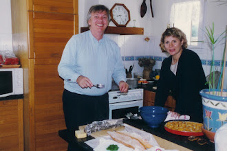Photo: Yves and Thérèse cooking up something tasty in their home in Nantes; 1996  KMH