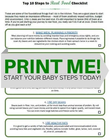 Print the Checklist for Baby Steps to Real Food