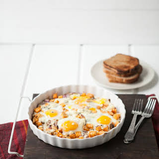 Roasted Sweet Potatoes, Gorgonzola and Baked Eggs.
