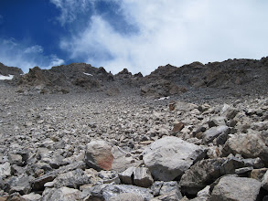 Photo: The nasty scree field coming down from North Massive