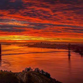 San Francisco Sunrise by Robert Gallucci - Landscapes Sunsets & Sunrises ( golden gate bridge, red sky, nature, red dawn, california, morning glory, marin headlands, amazing captures, sunrise, san francisco )