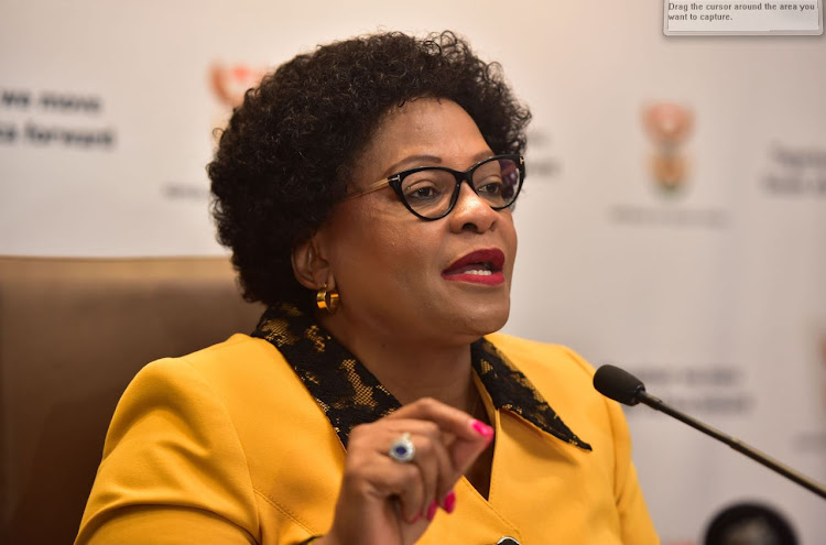 Minister of Communications, Nomvula Mokonyane, briefing media on the outcomes of the Cabinet meeting held on Wednesday 5 September 2018. Picture: SUPPLIED