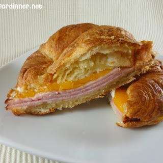 Baked Ham and Cheese Croissants.