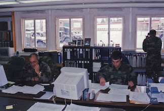 Photo: Dick and Kirk St. Peter in the Battalion Supply office at Bennett Dr.