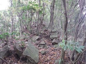 山頂直下は石が多い