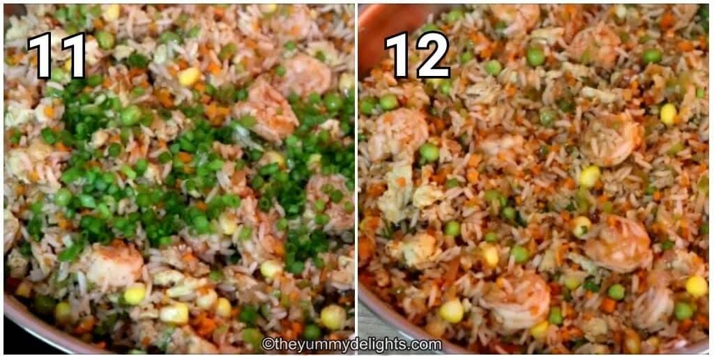 image collage of addition of spring onion greens to the shrimp fried rice.