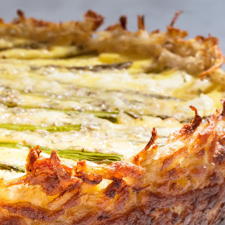 Asparagus and Two-Cheese Quiche with Hash-Brown Crust recipe | Epicurious.com.