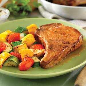 Deep Brown Gravied Pork Chops
