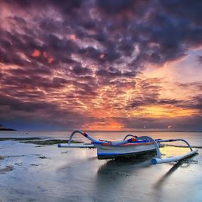 Sunrise in Paradise by Calvin Go - Transportation Boats ( bali, pantaikarang, indonesia, sanur, sunrise, boat )