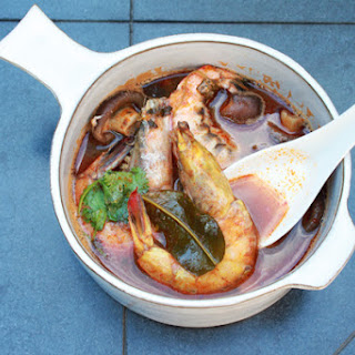 Spicy Thai Soup with Jumbo Prawns.