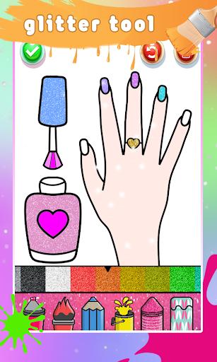 Glitter Nail Drawing Book and Coloring Game screenshot 3