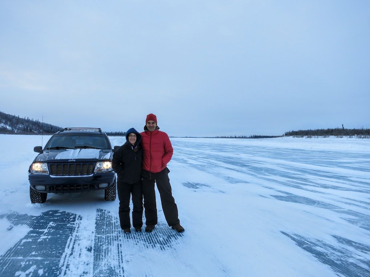 Driving over the Mackenzie River Ice Road