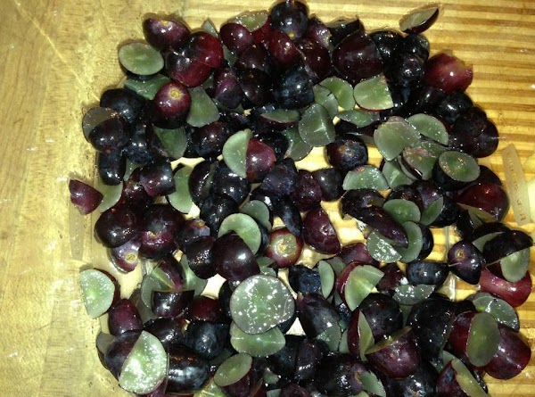 Wash and dry your grapes, I chop my grapes in fourths, so the pieces...