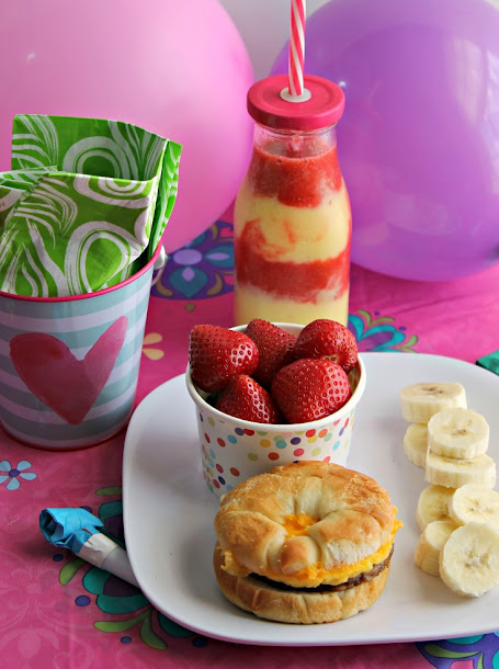 A refreshing Tropical Smoothie is a great part of a full breakfast