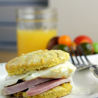 Ham, Egg, and Dijon Gravy over Butternut Squash Biscuits.