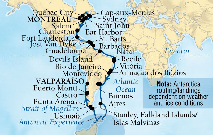 The 3-Continents Voyage aboard Seabourn Quest.