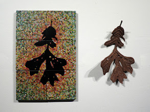 Photo: Leaf A piece from the third critique of the Spring 2012 semester. Left--bique tiles, hand-applied glaze drops, India ink; right--porcelain, oxide stain, enamel.