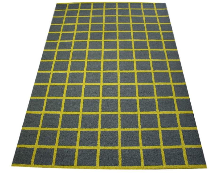 100% wełnany nowoczesny dywan z Indii ręcznie taftowany 200x300cm szary z żółtym akcentem