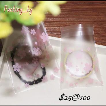 💕粉色花花磨沙包裝自粘袋