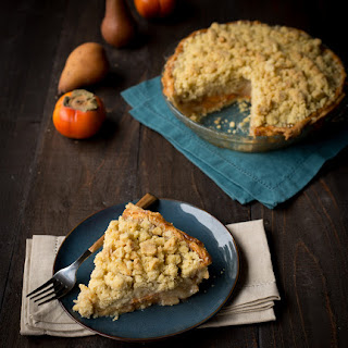 Persimmon and Pear Brandy Pie with Vanilla Bean Crumble.