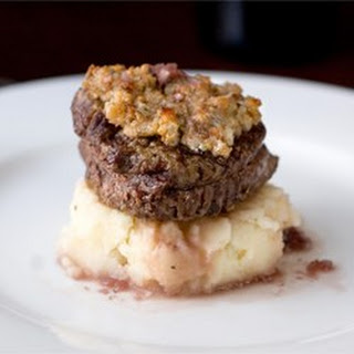 Blue Cheese Crusted Filet Mignon with Port Wine Sauce.