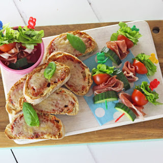 Salad Skewers with Prosciutto di San Daniele and Grana Padano Cheese Toasties.