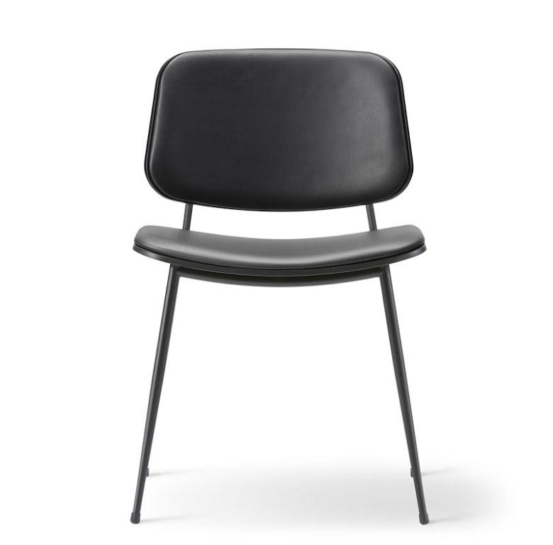 Söborg stol 3062, stålben, stoppad sits och rygg