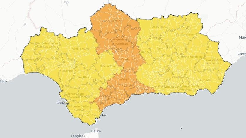 Mapa covid de Andalucía.