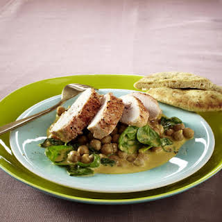 Tandoori Chicken with Chickpeas and Spinach.