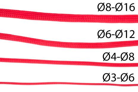 Nanoxia kabelstrømpe, tettflettet, Ø3-Ø6mm, rød