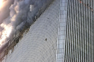 Photo: A person falls from the north tower of the World Trade Center.
